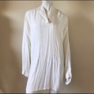 Flax White Oversized Long Sleeve Women's Top Large